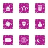 Fireside icons set, grunge style. Fireside icons set. Grunge set of 9 fireside vector icons for web isolated on white background Stock Image