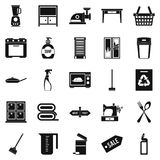 Fireside icons set, simple style. Fireside icons set. Simple set of 25 fireside vector icons for web isolated on white background Royalty Free Stock Photos