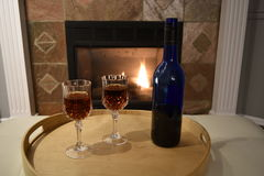 Fireside Wine royalty free stock photography