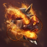 Fireskull. Fantasy metal plate helmet skull with chains in fire illustration Royalty Free Stock Photos