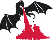 Firespewing dragon. Firespewing black dragon silhouette vector Stock Photos