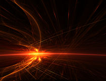 Firestorm. Fire storm on horizon of dark planet abstract fractal Stock Images