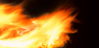 Firestorm. Spreading fire in black background Stock Photo