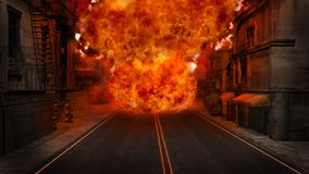 Firestorm. Scene with firestorm in the city Stock Images