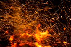 Firestorm texture. Bokeh lights on black background, shot of flying fire sparks in the air. The texture of fire. Bokeh lights on a black background, the shot Royalty Free Stock Image