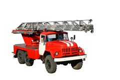 Firetruck. Red firetruck with extension ladder isolated on white Stock Photo
