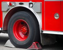 Firetruck. Red Fire Engine black wheel Royalty Free Stock Images