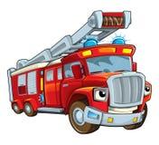 Κινούμενων σχεδίων firetruck - που απομονώνεται αστείο Στοκ Εικόνα