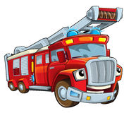 Κινούμενων σχεδίων firetruck - που απομονώνεται αστείο Στοκ Φωτογραφία