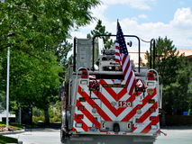 Firetruck with American flag Royalty Free Stock Images