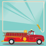 Firetruck Birthday Party Invitation. Super cute firetruck with dalmatian fireman with helmet and a fire hose blasts water to welcome you to a birthday party Royalty Free Stock Image