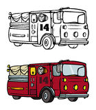 Firetruck coloring book Royalty Free Stock Photos