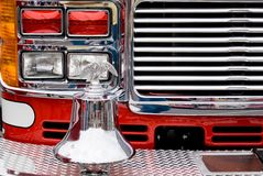 Firetruck Detail. Detail of the front of a firetruck and bell Royalty Free Stock Image