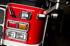Firetruck Details of the Front and Lights. Red Firetruck Details of the Front and Lights Stock Photo