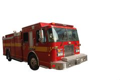 Firetruck die op wit wordt geïsoleerdT stock foto