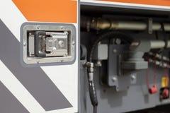 Firetruck door. Detail of door handle and closing system Stock Image