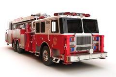 Firetruck en un fondo blanco Fotografía de archivo libre de regalías