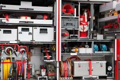 Firetruck equipment. German firetruck equipment close up Stock Photo
