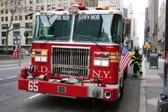 A firetruck on Fifth Avenue in New York City Stock Photos