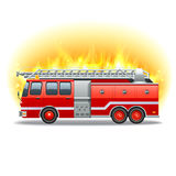 Firetruck in fire. Red firetruck with rescue ladder and fire on background vector illustration Royalty Free Stock Photo