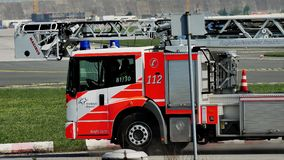 Firetruck in Frankfurt Airport, FRA. Fire truck in Frankfurt Airport, FRA, airport security stock video footage