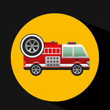 Firetruck icon wheel design Royalty Free Stock Photos
