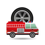 Firetruck icon wheel design Royalty Free Stock Images