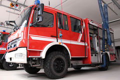 Firetruck inside the Station Stock Images