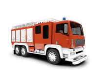 Firetruck isolated front view. Red firetruck on white background Stock Images