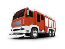 Firetruck isolated front view. Red firetruck on white background Stock Photos