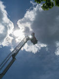 Firetruck Ladder, sky and reflection Stock Photos