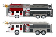 Firetruck left view isolated on white. 3d rendering Stock Image