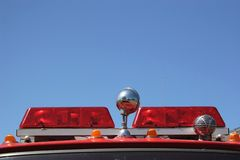 Firetruck Lights. The red alarm lights on the top of a firetruck Stock Photo