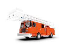 Firetruck long isolated front view. Red long firetruck on white background Stock Photos