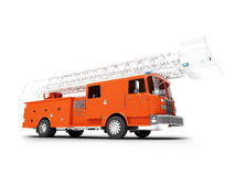 Firetruck long isolated front view. Red long firetruck on white background Royalty Free Stock Images