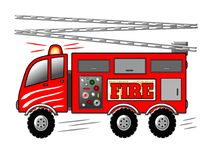 Firetruck, Pożarniczy silnik z drabiną i syreny ilustracja, Obraz Royalty Free