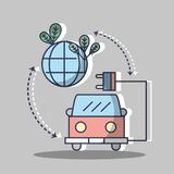Firetruck with power cable and planet with leaves. Vector illustration Royalty Free Stock Photography