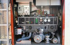 Firetruck pump control panel Stock Photo
