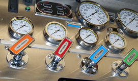 Firetruck pump panel Royalty Free Stock Images