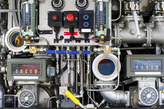 Firetruck pumping and valve control panel Royalty Free Stock Photos