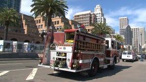 Firetruck San Francisco almacen de metraje de vídeo