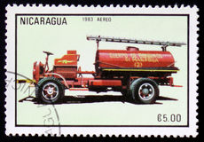 Firetruck, series, circa 1983. MOSCOW, RUSSIA - FEBRUARY 12, 2017: A stamp printed in Nicaragua shows firetruck, series, circa 1983 Stock Images