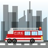 Firetruck transiting for the city. Vector illustration Stock Photo