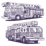 Firetruck vector drawings Stock Photos