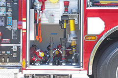 Firetrucks gauges and instruments. Gauges and instruments of a firetruck, close up Stock Photos