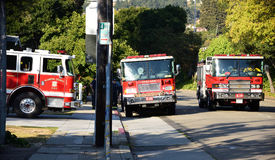 Firetrucks at Grizzly Peak. Wildfire and evacuation in Oakland, San Francisco Bay area Royalty Free Stock Image