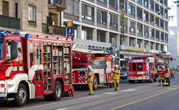 Firetrucks i Genève, Schweiz Arkivbilder