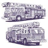 Firetruckvektorteckningar royaltyfri illustrationer