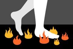Firewalking/camminare sui carboni ardenti illustrazione di stock