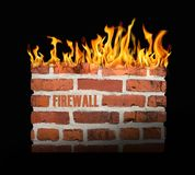 Firewall. Digital illustration of computer firewall on black background Stock Photos